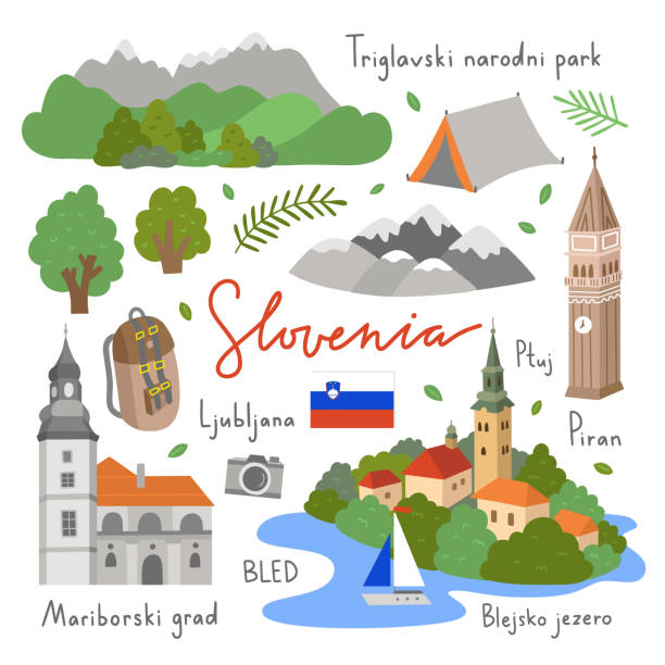 Slovenia vector illustrations set on white background. Visit Slovenia icons and symbols. Travel elements with nature and architecture of Europe Slovenia vector illustrations set on white background. Visit Slovenia icons and symbols. Travel elements with nature and architecture of Europe lakeshore stock illustrations