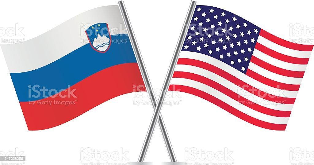 Slovenian and American flags. Vector. vector art illustration