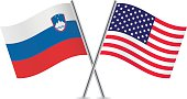 Slovenian and American flags. Vector.