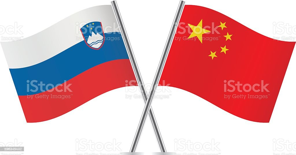 Slovenian and Chinese flags. Vector. Lizenzfreies slovenian and chinese flags vector stock vektor art und mehr bilder von biegung