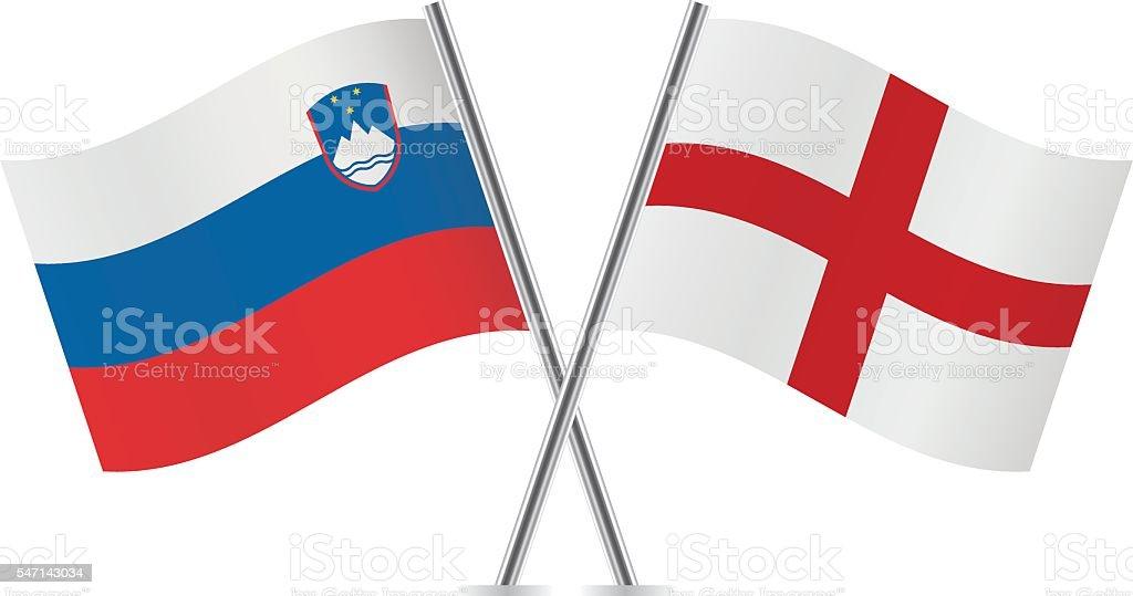 Slovenian and English flags. Vector. vector art illustration