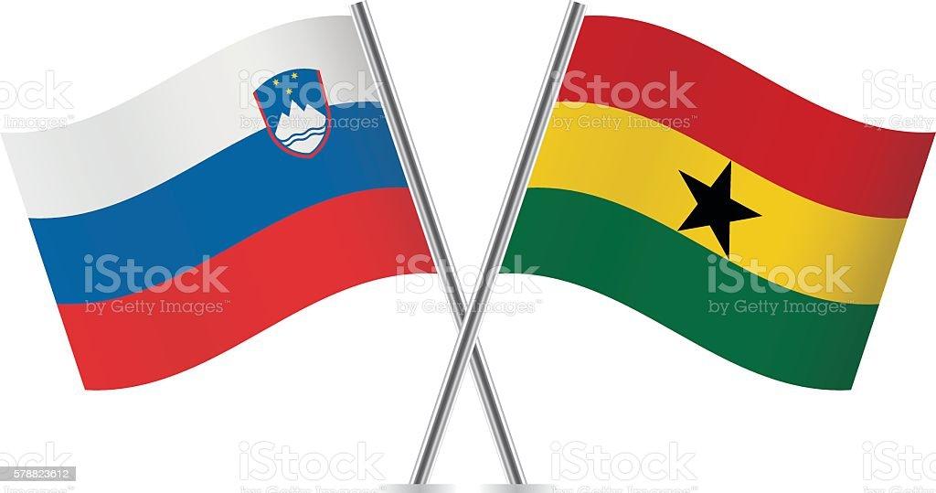 Slovenian and Ghanaian flags. Vector. - ilustración de arte vectorial
