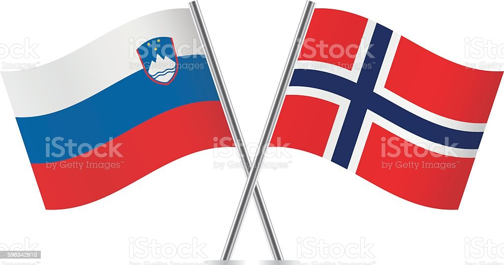 Slovenian and Norwegian flags. Vector. royalty-free slovenian and norwegian flags vector stock vector art & more images of banner - sign