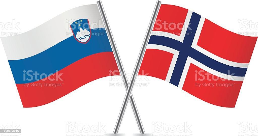 Slovenian and Norwegian flags. Vector. Lizenzfreies slovenian and norwegian flags vector stock vektor art und mehr bilder von biegung