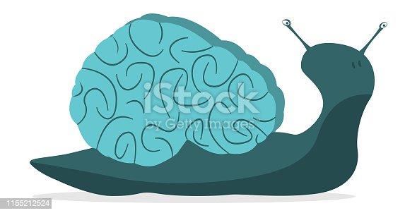 A snail whose shell is shaped like a brain.