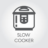 Slow cooker flat icon. Electronic crock pot or steamer pictograph. Household appliance label. Vector