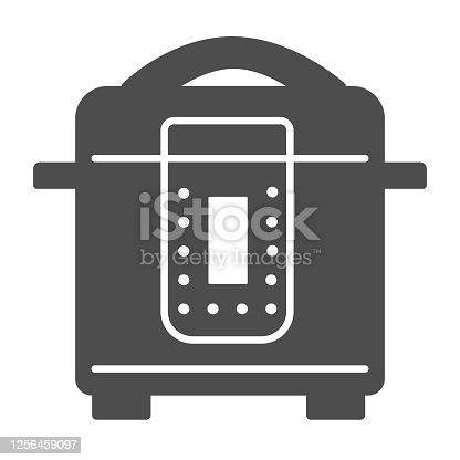 istock Slow cooker solid icon, Kitchen appliances concept, Electric pan sign on white background, Multicooker icon in glyph style for mobile concept and web design. Vector graphics. 1256459097