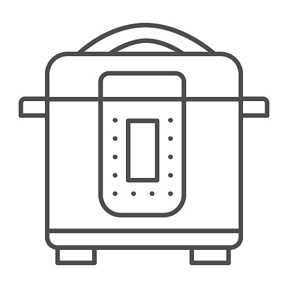 Slow cooker thin line icon, Kitchen appliances concept, Electric pan sign on white background, Multicooker icon in outline style for mobile concept and web design. Vector graphics.