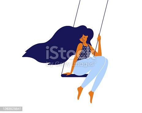 istock Slow life, love and time for yourself, self care concept  with cute girl sitting on swing 1263525541