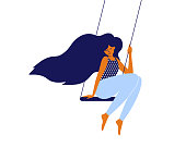 Love and time for yourself, self care, slow life concept. Cute girl with long hair sitting on swing. Young smiling mother takes break and relaxes. Happy woman, wellbeing, body care vector illustration