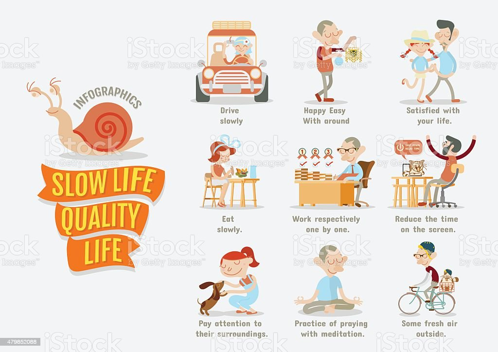 Slow Life Quality Life vector art illustration