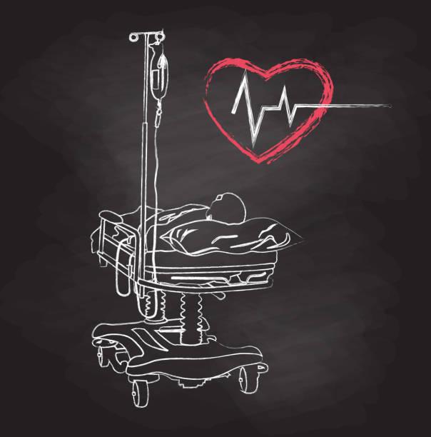 ilustrações de stock, clip art, desenhos animados e ícones de slowly dying hospital - coração fraco