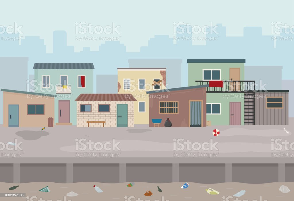 Slum. Huts and old ruined houses at the street. vector art illustration