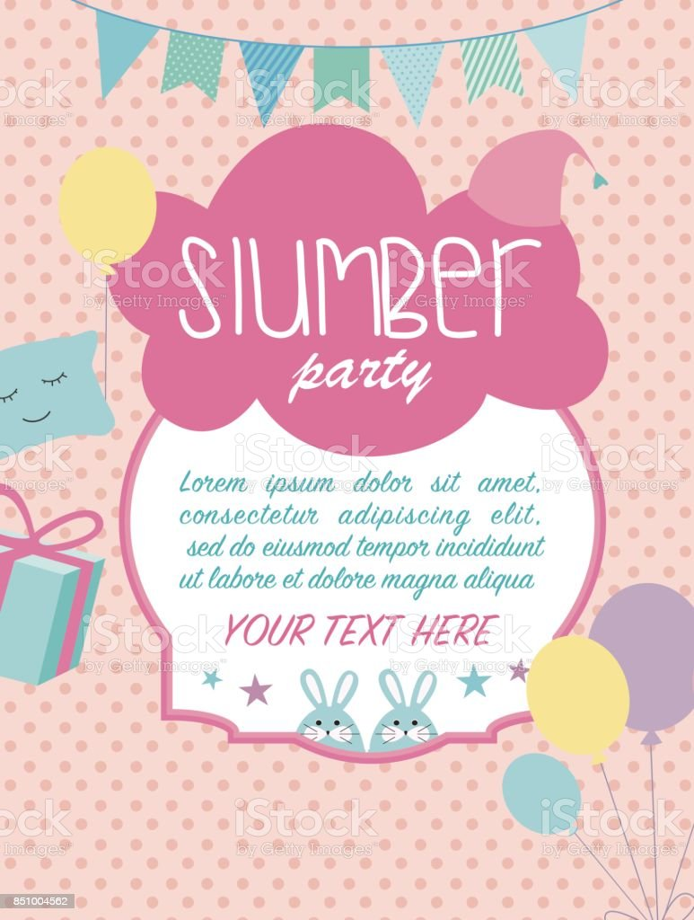 Slumber Party Invitation Card Birthday Invitation Card Stock Vector ...