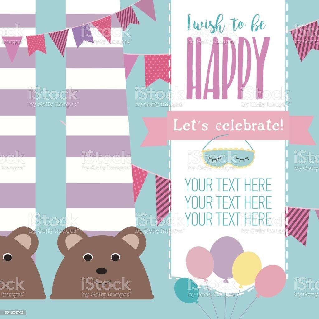 Slumber party invitation card. Birthday invitation card. Vector...