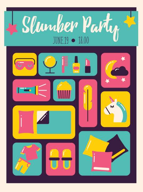 ilustrações de stock, clip art, desenhos animados e ícones de slumber party invitation - unicorn bed