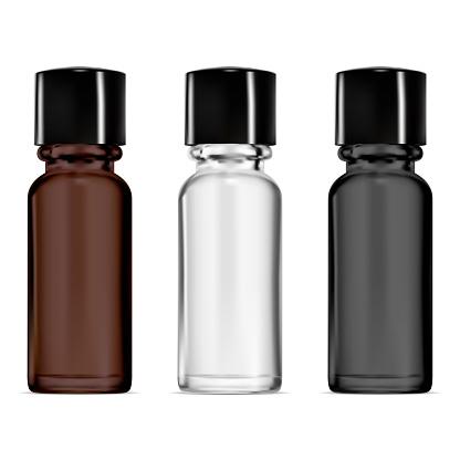 Smal glass vial. Dropper bottle mockup. Serum set