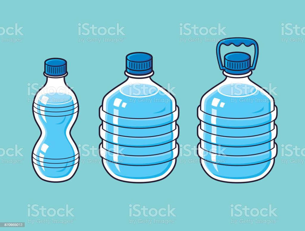 Small And Big Plastic Water Bottles Stock Illustration