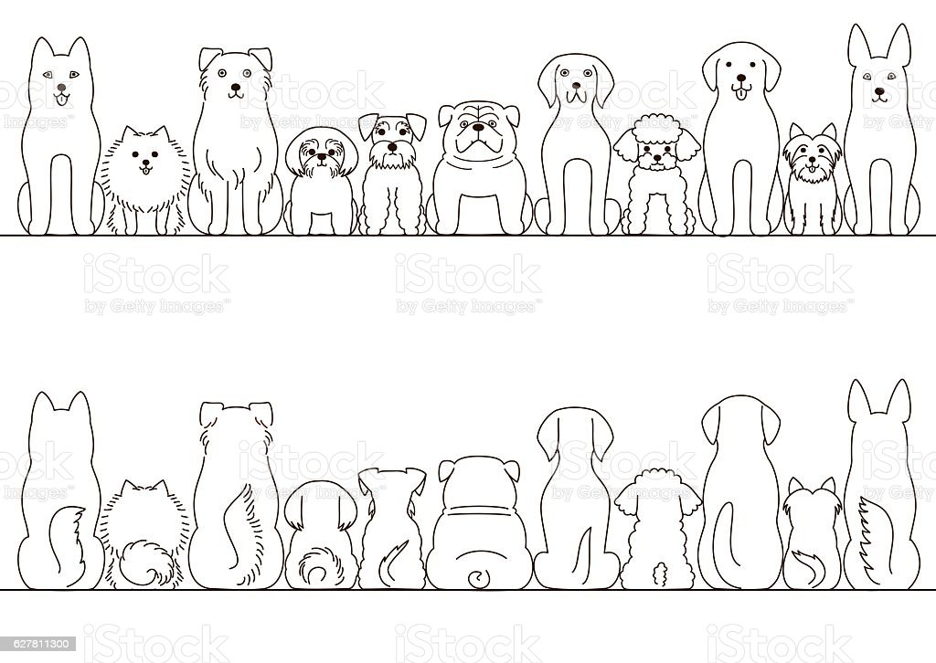 small and large dogs border set, front view and rear view ベクターアートイラスト