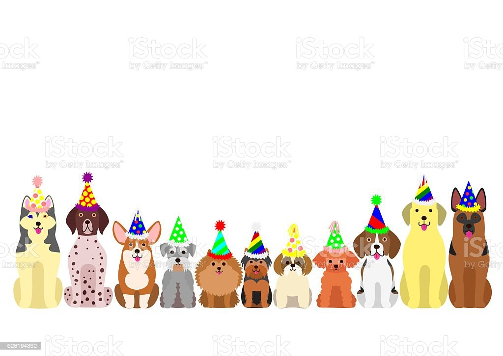 Small And Large Dogs Border Set With Colorful Party Hat ...