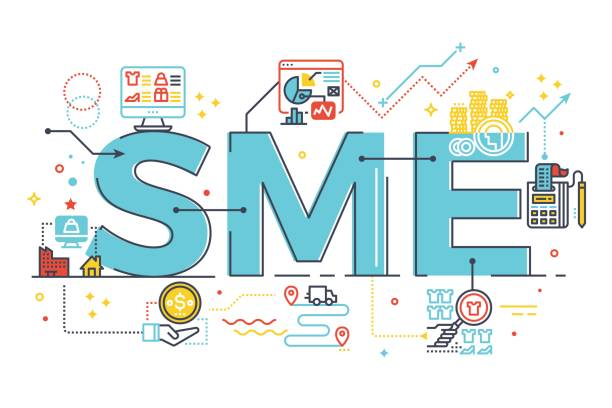 SME, Small and Medium Enterprise, word lettering illustration vector art illustration