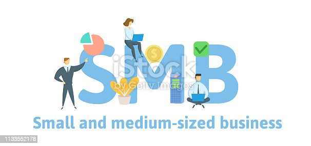SMB, Small and Medium-Sized Business. Concept with keywords, letters and icons. Colored flat vector illustration. Isolated on white background.