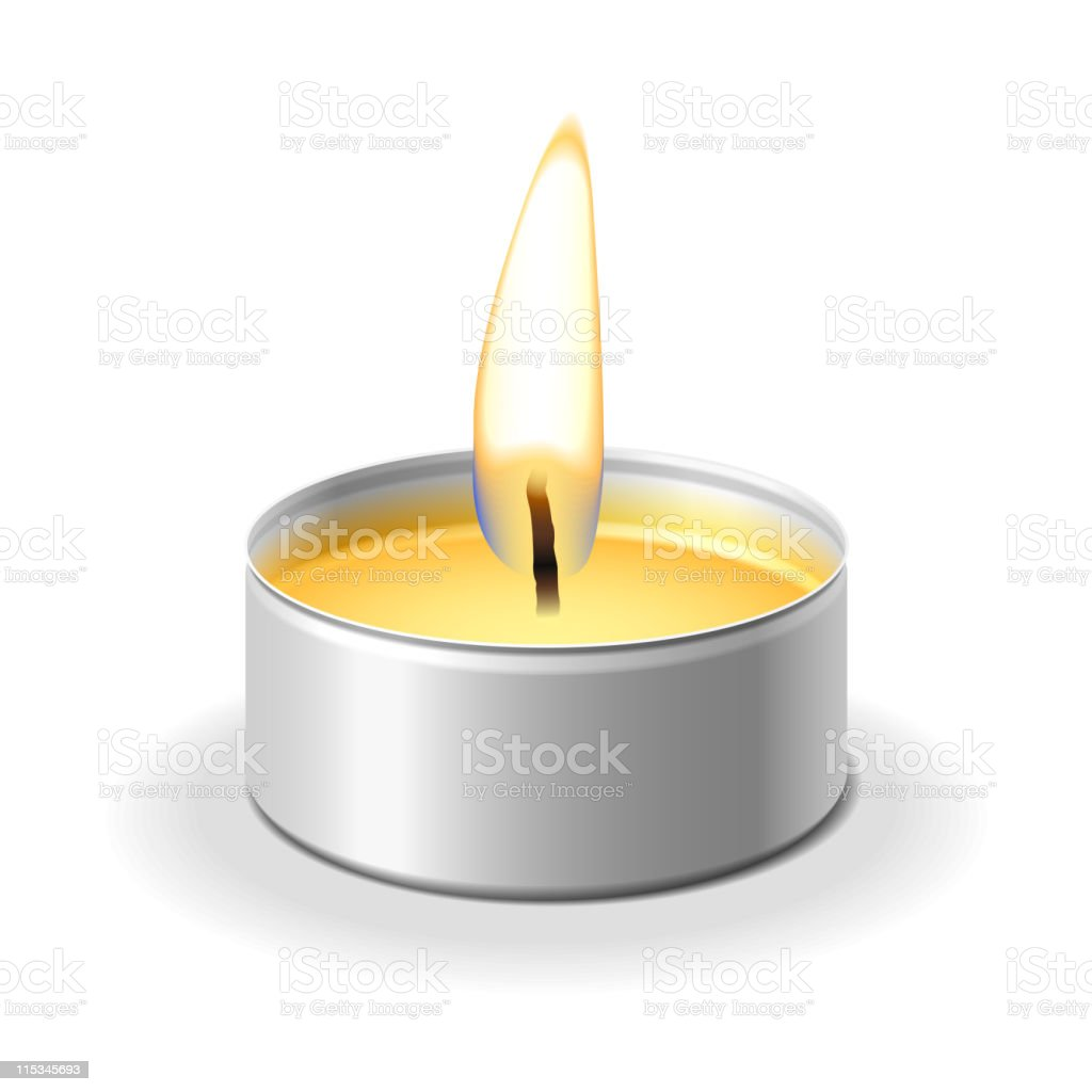 Small and yellow tea light on white background royalty-free stock vector art