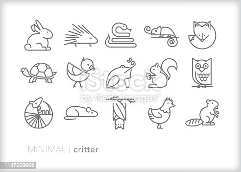 Set of 15 critter line icons of small animals found in the wild, on farms, in homes and in zoos