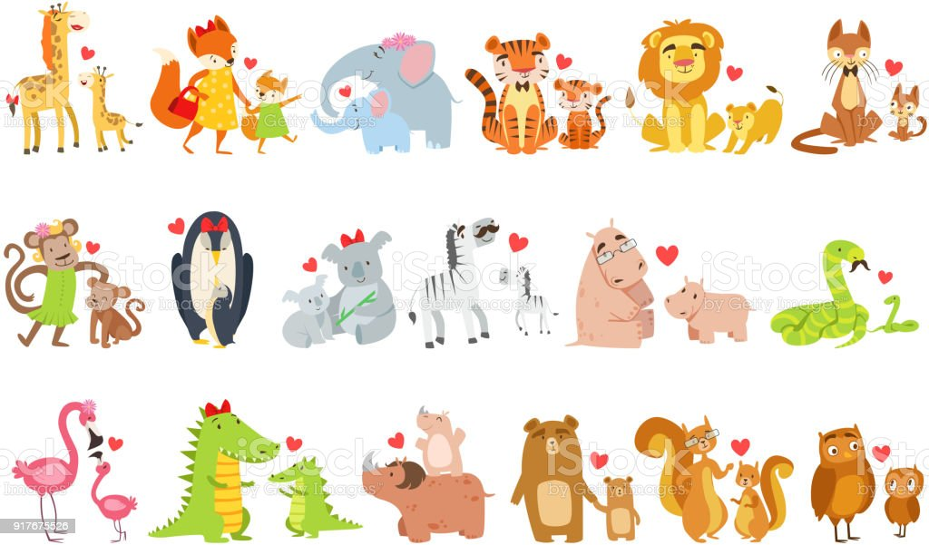 Kleine Tiere und ihre Mütter Illustration – Vektorgrafik