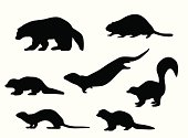 Silhouettes of a variety of woodland animals