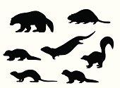 Small Animals Vector Silhouette