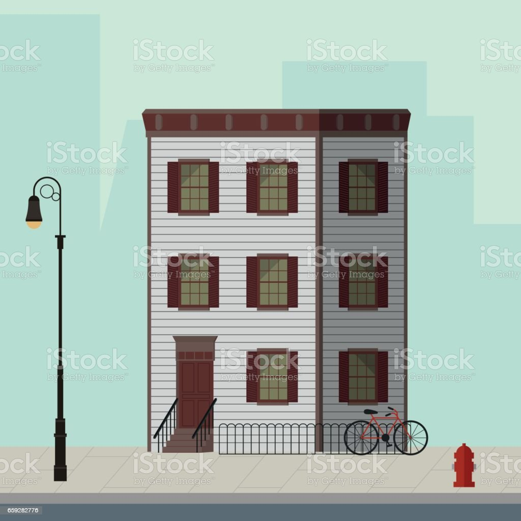 Small Apartment Building With Stairs To The Main Door Flat Vector