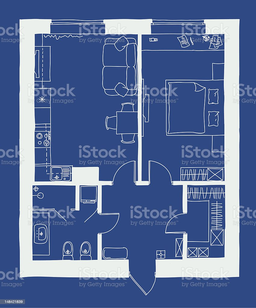 Small apartment plan vector art illustration