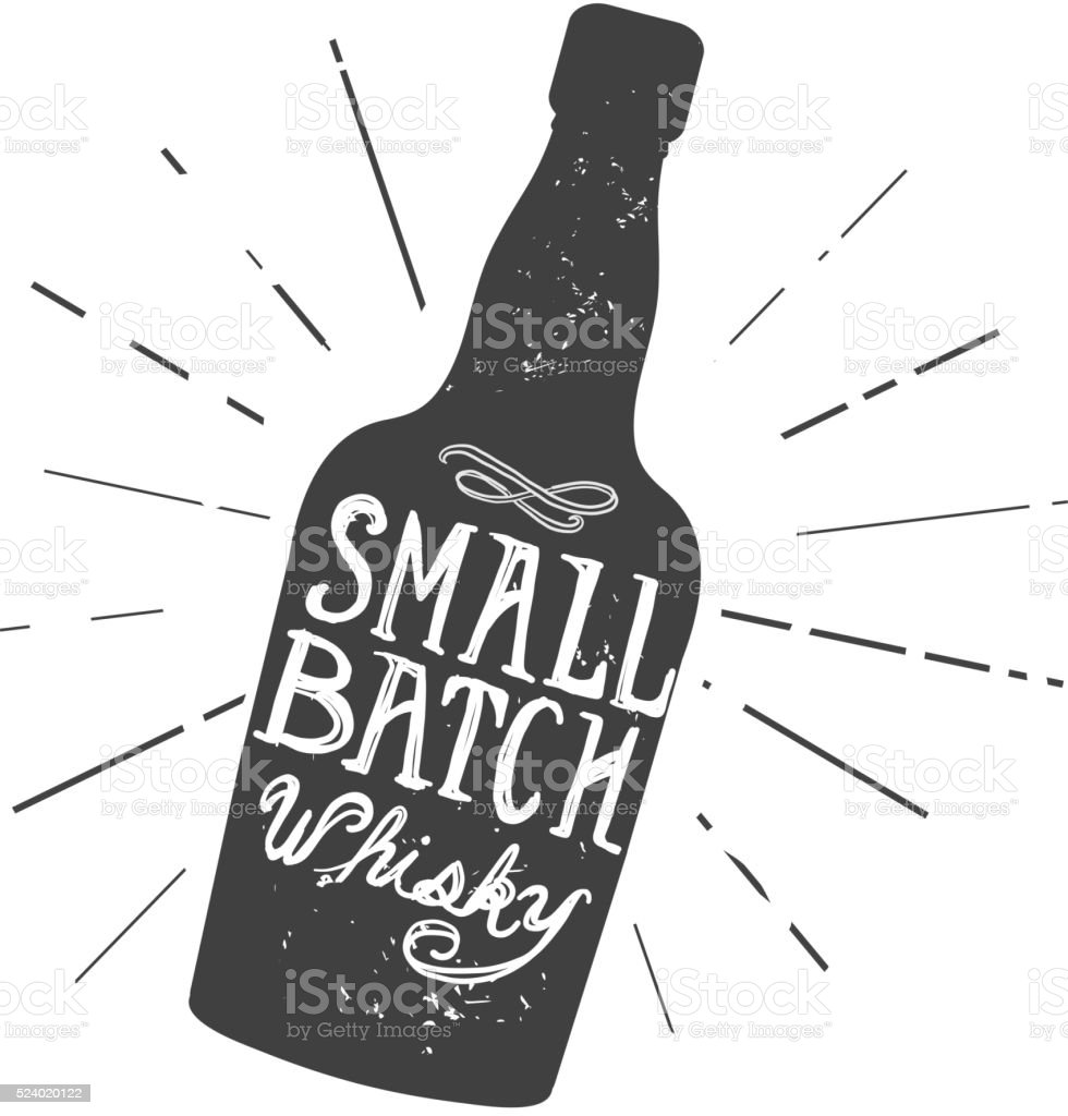 Small Batch Whisky bottle and label hand lettering design royalty-free small batch whisky bottle and label hand lettering design stock vector art & more images of alcohol