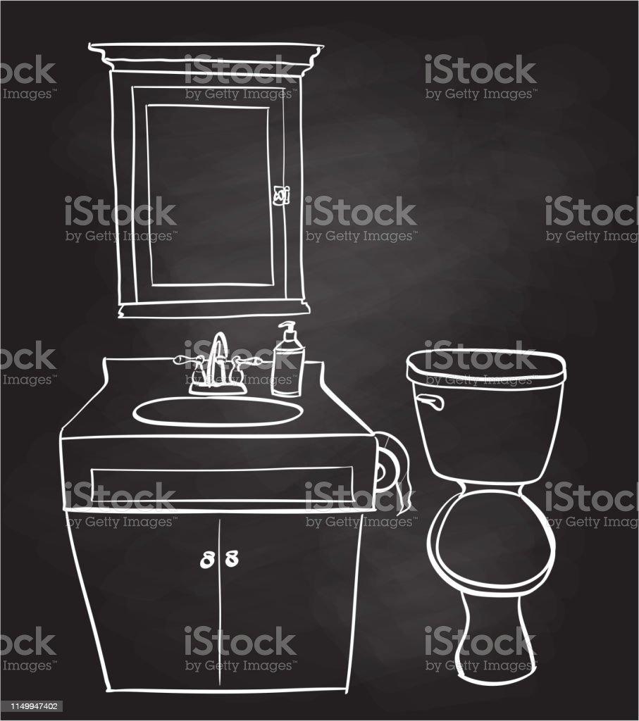 Tableau Salle De Bain petite salle de bain croquis tableau noir vecteurs libres de