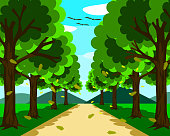 A small, beautiful road surrounded by nature. On both sides there are trees  with leaves falling. In front there were mountains and blue sky at day time.