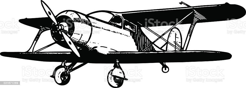 Small biplane cargo aircraft. vector art illustration