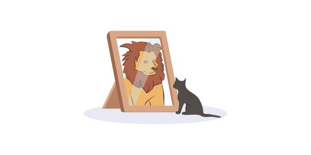 Small black cat looking herself at mirror as huge fierce lion vector graphic illustration