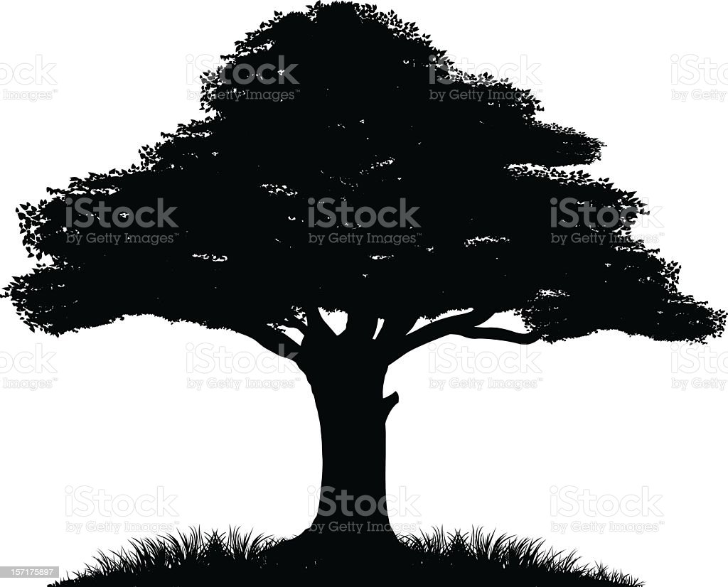 Small black silhouette of a tree in the bottom right corner vector art illustration