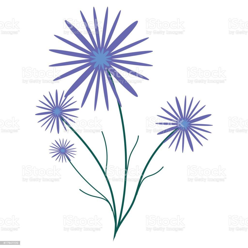 Small bouquet of cornflowers vector art illustration