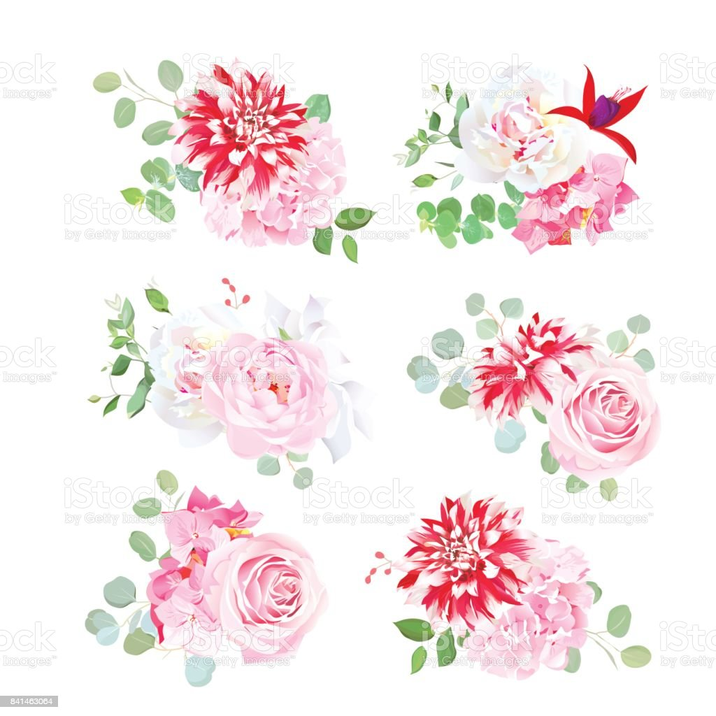 Small Bouquets Of Pink Rose White Peony Red Motley Dahlia Stock ...