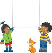 Children vector illustration of funny little boy and girl holding banner of blank background with place for text