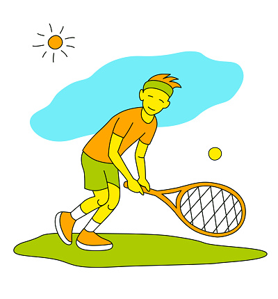 Small boy playing tennis. Vector illustration in a flat style. Isolated on a white background. Sports concept.
