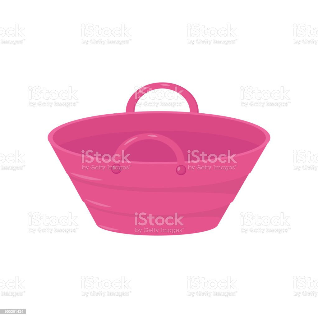 Small bright pink bucket with two handles. Plastic or metal pail for carry liquids or products. Colorful flat vector design small bright pink bucket with two handles plastic or metal pail for carry liquids or products colorful flat vector design - stockowe grafiki wektorowe i więcej obrazów bez ludzi royalty-free