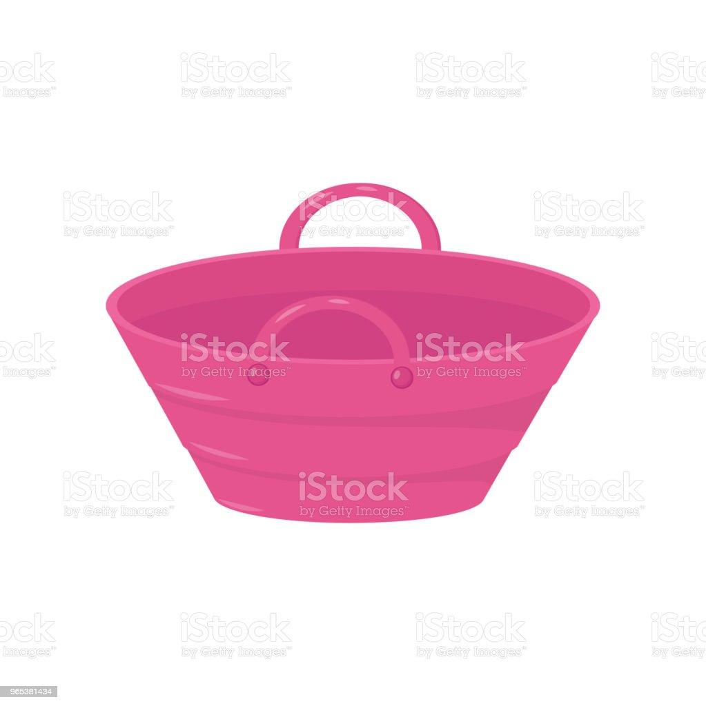 帶有兩個手柄的小亮粉紅色桶。用於運載液體或產品的塑膠或金屬桶。彩色平面向量設計 - 免版稅剪裁圖圖庫向量圖形