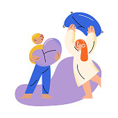 Hand drawn small brother and sister fighting with pillow and having fun at home over white background vector illustration. Pillow fight concept
