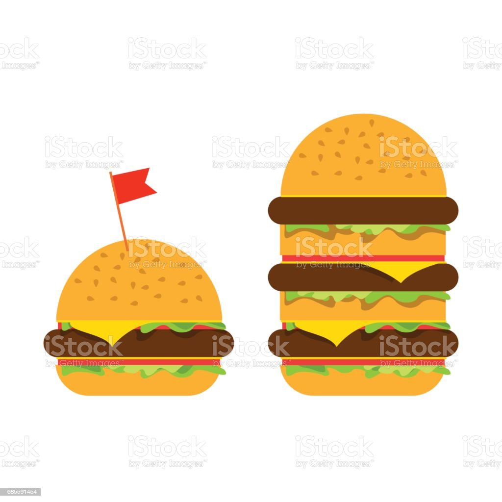 Small burger and big beefburger 免版稅 small burger and big beefburger 向量插圖及更多 三文治 圖片