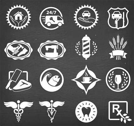 Small business badges chalk board vector icon set