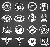 Small business badges chalk board vector icon set. This image features a set of roaylty free vector icons in white on a chalkboard. The icons can be used separately or as part of a set. The chalk board has a slight texture.