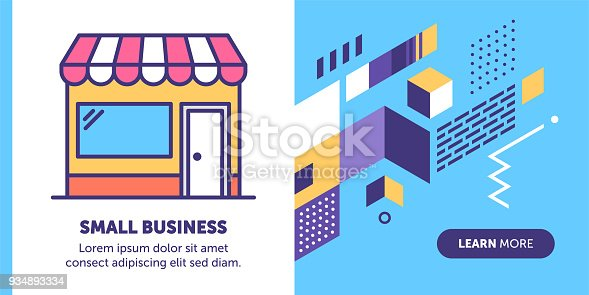 Small business vector banner illustration also contains icon for the topic.